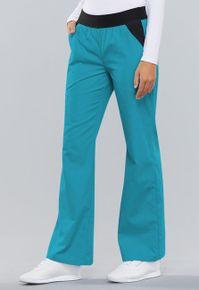 Dámské kalhoty s nízkým sedem a gumou - tyrkysová e6b287d02b